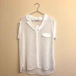 Anthro Pleione White Sheer Blouse